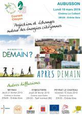 Lundi 18 Mars 2019 - Projection Après Demain - Echanges sur les énergies citoyennes -  Aubusson (23)