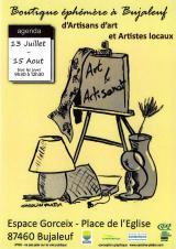 Samedi 24 juil. 2021 - Boutique éphémère : art et artisanat -  Bujaleuf (87)