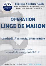 Samedi 18 Novembre 2017 - Opération linge de maison (Boutique Solidaire Agir) -  Brive-la-Gaillarde (19)