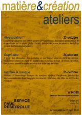 Mercredi 23 Octobre 2019 - Matière & création - ateliers d